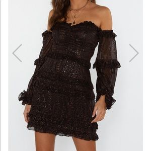 Nasty gal Metallic off shoulder mini dress 2